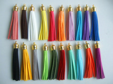 20Pcs 88*11.5mm Mixed Suede Leather Jewelry Tassel For Key Chains/ Cellphone Charms Top Plated End Caps Cord Tip