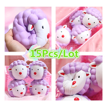 15Pcs Kiibru 12cm Kawaii Animal Jumbo Squishy Sheep Doll Phone Straps Charm Bread Scented Slow Rising Kid Toy Gift W/Packaging