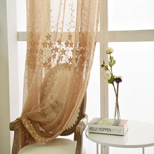 Coffe White Beige Blue Embroidered Tulle Curtains For Living Room Voile Occultants Et Tulle Pour Sheer Cortinas Pas Cher Pannea(China)