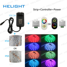 DC12-24V Black/White Wireless RF Remote Touch Dimmer Controller +SMD 5050 RGB LED Strip Light 5M 150LED +Power(China)
