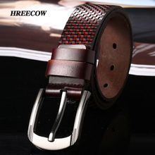 New Men'S Fashion 100% Genuine Leather Belt Pin Buckle Black and Red Grid Luxury Design Leather Strap Belt Men'S Belts