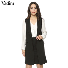 Women long vest coat Europen style waistcoat sleeveless jacket outwear casual top Roupa Female 4 Colors ZC046