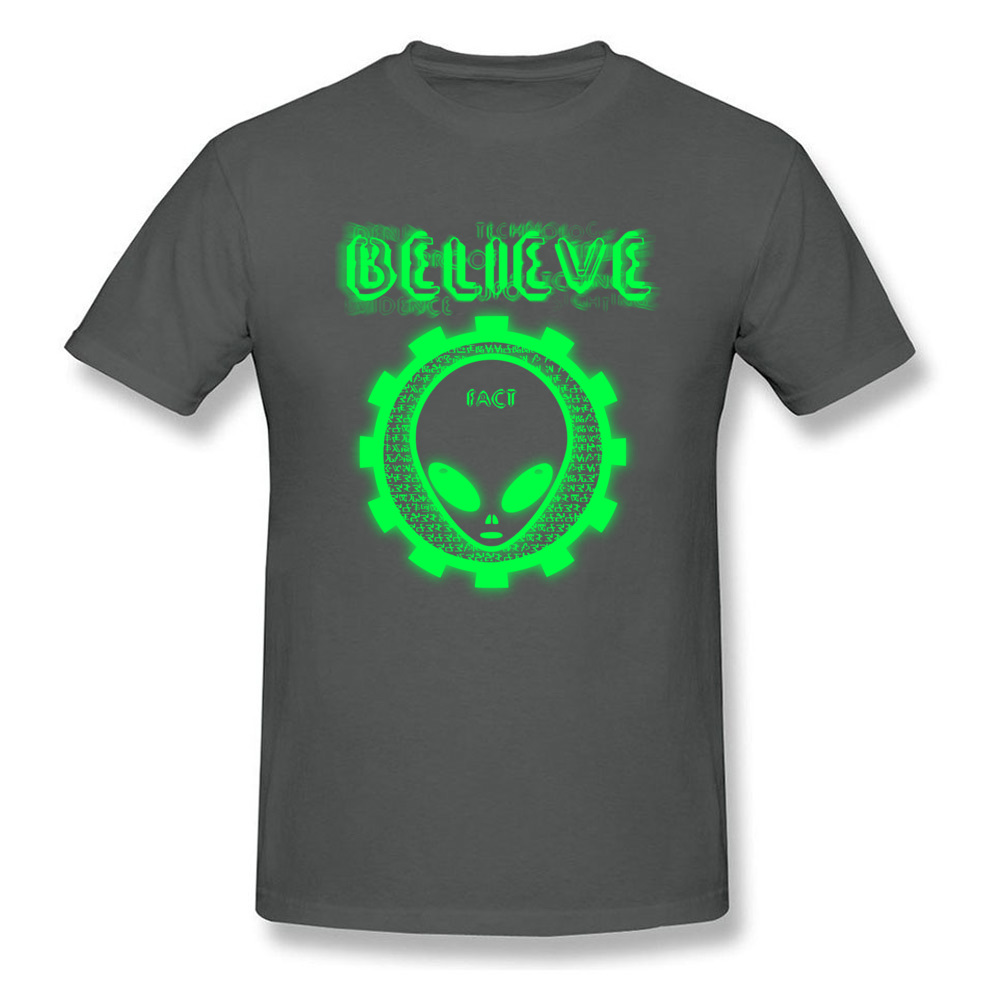 Printing Believe Alien Fact O-Neck T Shirts Thanksgiving Day Tops Shirt Short Sleeve for Men Hip Hop 100% Cotton T-Shirt Believe Alien Fact carbon