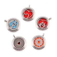 Round Silver Hearts Love (25mm) Essential Oils Diffuser Locket Aroma Purfume Locket Jewelry with Crystals 10pcs mixed