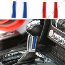 Pair Blue/Red ABS Gear Shift Knob Trim Transmission Handle Decorative Strip Interior Moulding Sticker For Ford Mustang 2015- 17