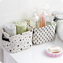 Small Cute White Dots Stars Cotton Linen Sundries Storage Basket Box with Handle, Toys Cosmetic Makeup Snacks Holder Organizer(China)