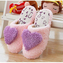 Women Warm Plush Home Slippers Winter Cute Heart Patterns Girls Classy Soft Fluffy Slippers Lovers Indoor Shoes Pantufas Pantufa