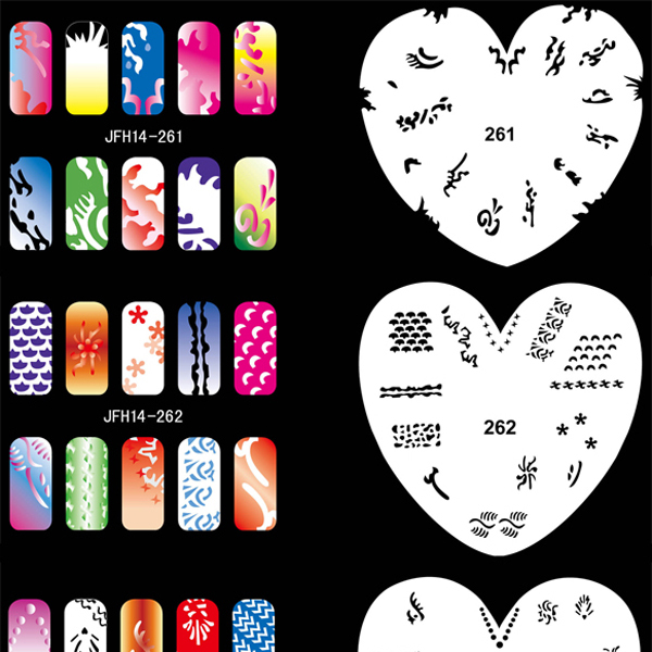 Airbrush Nail Art Stencil Set 14, 20 Sheet Stencil Set with an Average of 16 Different Nail Art Design Patterns<br>