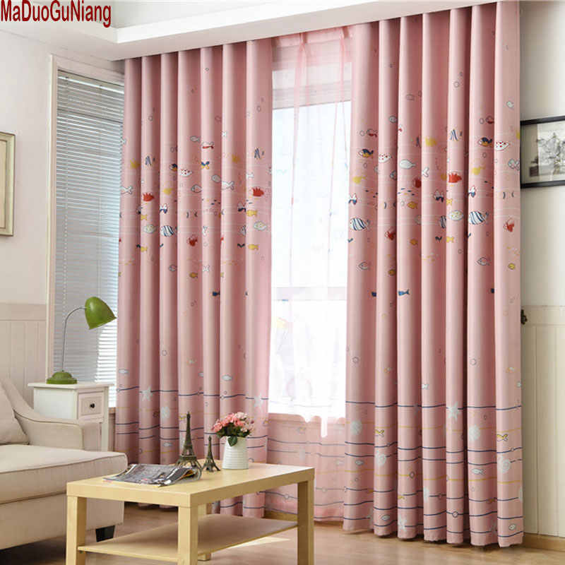 Blackout Bedroom Window Curtains For Children Pink Baby Boys Kids Drapes Fabric Infant Cartoon Home Curtain Panels Printed Blind
