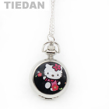 TIEDAN Brand Enamel Lovely Cute Hello Kitty Pocket Watch Vintage Retro Antique Quartz Pocket Watches Best Gifts for Children