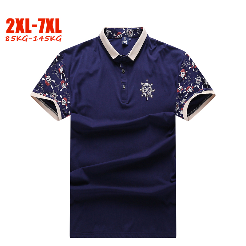 Summer New 5XL 6XL 7XL polo shirt men Casual plus size men polo shirt Cotton Print Loose 2XL-7XL big size men shirt polo