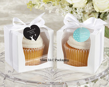 NEW DESIGN 100pcs 9x9 Single Wedding Cupcake Box with White Insert /Wedding Gift Box/ Party Favor Box (JCO-97C)