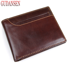 GUDANSEN rown Genuine Leather Men Wallets Mens Vintage Short Mini Wallet Cowhide Purse Pocket Card Photo Holder Chocolate