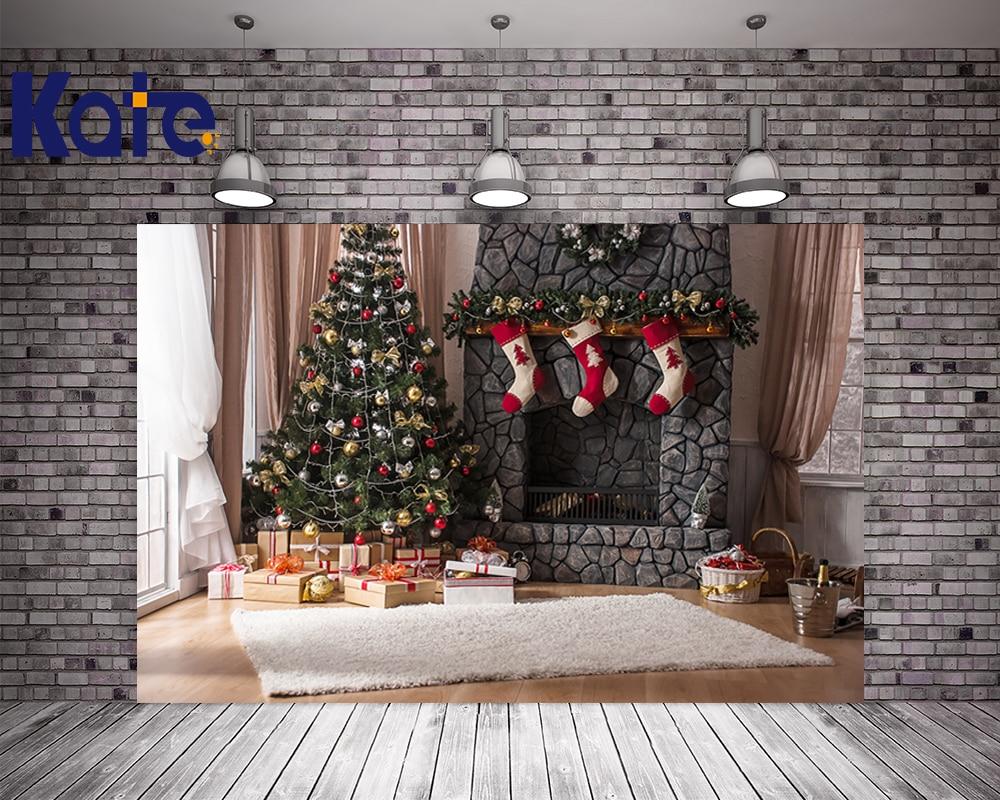 Kate Christmas Studio Backdrop Photography White Blanket Brick Wall For Newborn Photo Background Christmas Tree No Wrinkles<br>