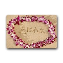 "Good_quality Custom Doormat MultiColor Hawaiian Flower Garland Aloha Summer Beach Door Mat Rug Mats 23.6"" x 15.7"""