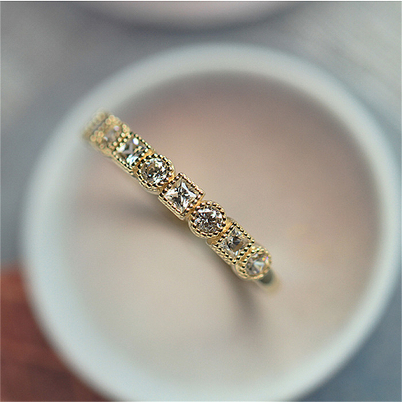 Gold Color Rings For Women Engagement Wedding Full Cubic Zircon Ring Fashion Jewelry C25