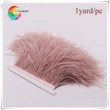hot sale dyed leather pink ostrich feather fringe trims1yard per lot natural ostrich feather ribbon trim for skirt costume dress