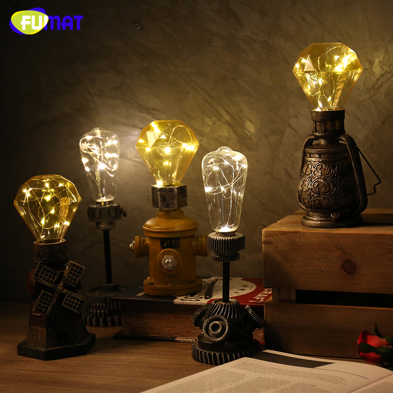 Vintage Edison Bulb Night Light Home Deco Retro Table Decoration Warm Night Lamp Loft  Living Room LED Resin Nightlight Desktop <br>