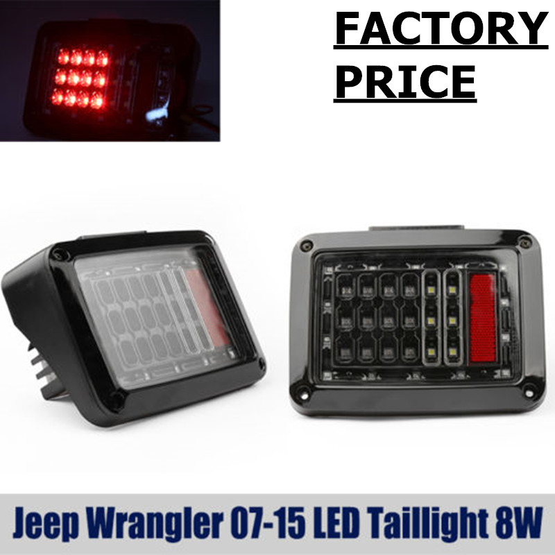 1 pair USA Edition For 07-15 J eep Wrangler Red Clear LED Perform Tail Lights Rear Brake Lamp 8w with free shipping<br><br>Aliexpress