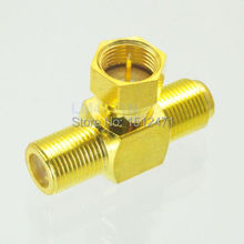 10pcs Adapter F male plug to 2x F TV female T RF Splitter connector 1M2F Gold-P(China)