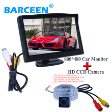 "car Rearview camera ccd image sensor bring 5"" car display monitor for car backing fit for Toyota Corolla(China)"