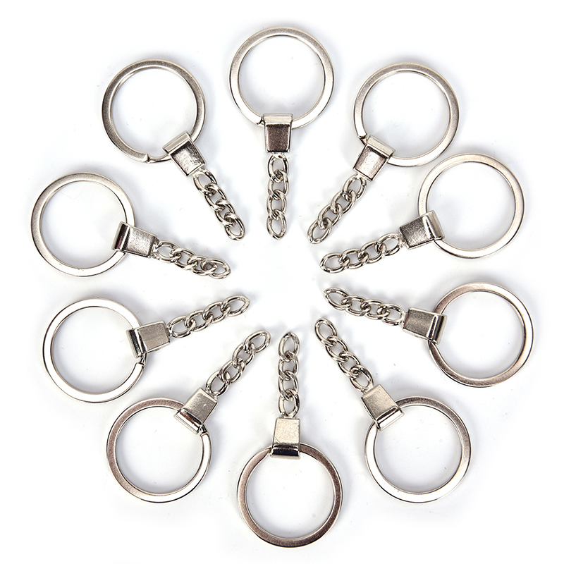 10Pcs 30mm Keyring Polished Silver Round Split Metal Keychain DIY Split Ring Short Chain Accessories