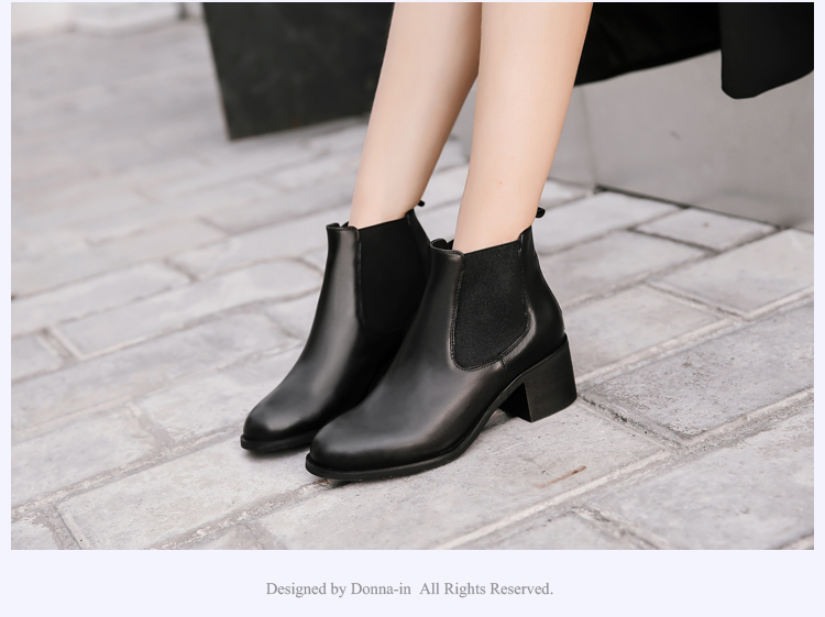 Donna-in genuine calf leather winter boots classic Chelsea boots round toe thick heel natural leather women boots (24)