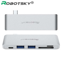 Robotsky 5 in1 USB Type-C Multi-port Hub Adapter with 2 USB 3.0 Ports Charge Adapter SD/TF Card Reader for MacBook(China)