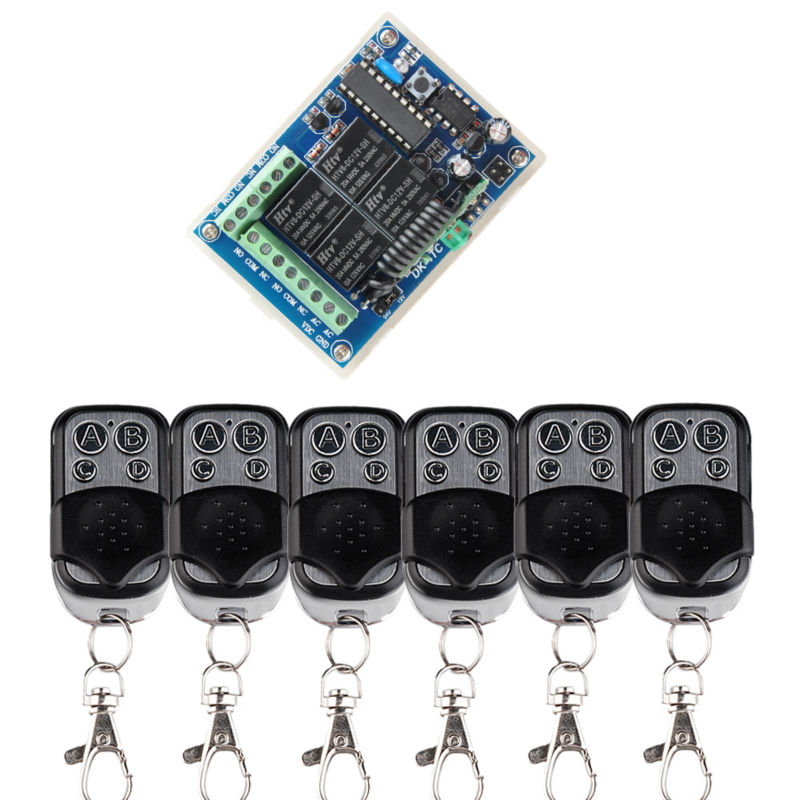DC 24V 12V 4CH RF Wireless Remote Control Switch System With 6PCS Metal Transmitter +Wireless Light Switch 433Mhz<br>