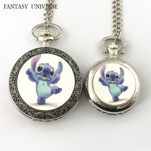 FANTASY UNIVERSE Freeshipping wholesale 20pc a lot Lilo Stitch pocket Watch necklace Dia4.7mm and Dia3.5mm  HRSYYT28