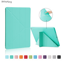 BYHeYang Cover for Apple iPad 6 Smart Leather Case Multi Shape Folding Auto Wake Up Sleep Case for iPad Air 2 TPU Back Cover(China)