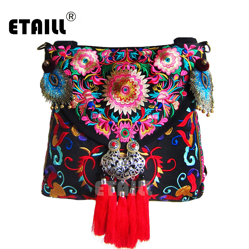 National Trend Chinese Hmong Ethnic Vintage Flower Embroidered Bags with Tassel Feathers Leisure Crossbody Bag Bordado Bolsa<br><br>Aliexpress