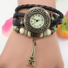 Vintage Eiffel Tower Tag Fashion Quartz Watch Women Genuine Cow Leather Beads Bracelet Wrist Watch(China)