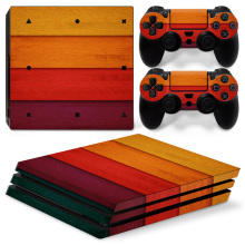 customized and wholesaler Transverse horizontal line wood Protective Skin cover for PS4 pro console #TN-P4Pro-0727(China)