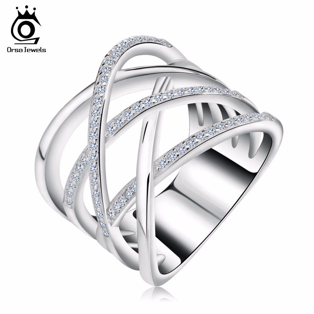 ORSA JEWELS Big Size Silver Color Ring with Micro Paved AAA CZ High Polished Lead & Nickel Free Ring for Women Party OR85(China)