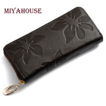 Women Wallets Fashion Flower Print Genuine Leather Wallets Women Clutch Wallets Lady Vintage Clutch Bag Coin Purse Women(China)