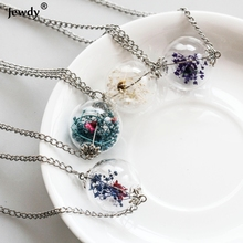 Sunshine Handmade Wish Glass Bottle Dried Flower Pendant Necklace Silver Plated Chain Time Choker Women Summer Fashion jewelry