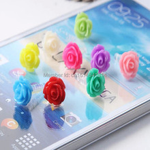 wholesale 5000pcs rose lovely anti Dust plug for iphone, dust cap for 3.5mm earphone jack mobile phone free shipping