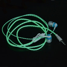 Hot Glow In The Dark Earbus Cool Led Earphone Luminous Neon Headset With Microphone Night Lighting For iPhone Samsung Xiaomi(China)