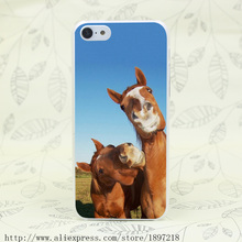 4729T Two Funny Brown Horses Smiling Farm Hard Transparent Cover Case for iphone 4 4s 5 5s 5C SE 6 6s Plus 7 7 Plus