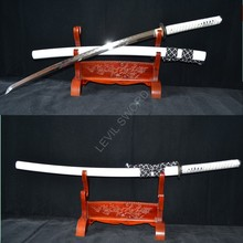 Sample DAMASCUS JAPANESE SAMURAI SWORD KATANA FOLDED STEEL FULL TANG BLADE - Hard wooden white saya can customized sword