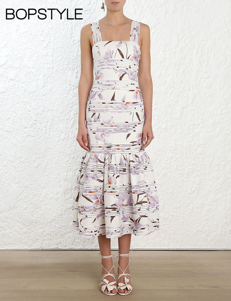 Corsage Linear Dress Lilac Orchid Print Midi Dress Features Thick Shoulder Straps & Fitted Bodice & Drop Hem & Gathered Detail