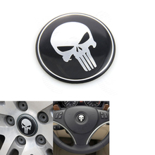1pc Car Styling Accessories 45mm Punisher Skull Logo Emblem Badge Steering Wheel Center Hub Cap Sticker For BMW Honda #4844