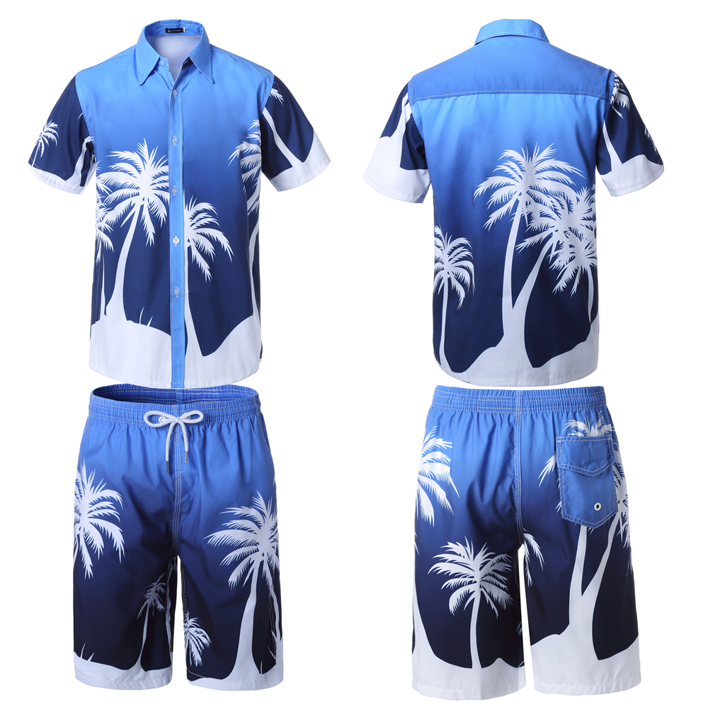 Men Summer Hawaii Holiday Beach Wear Floral Blouse Shirt Top Pants Suits 2PC