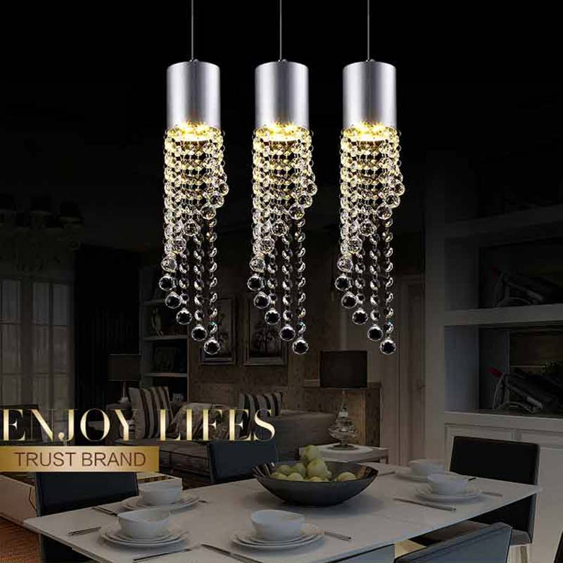 5W Led Lamp Modern Crystal Pendant Light Kitchen Dining Room Shop Silver Metal 3 Heads Home Rope Lighting Fixtures 220V<br>