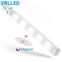 SOLLED LED Night Light Body PIR Sensor Cabinet Magnetic Rotary Wardrobe Bathroom Stick Lamp(China)