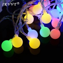 IKVVT 5M 50led ball lights fairy garden AA battery waterproof outdoor  string Christmas party New Year holiday decoration 17dc6c320342