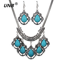 Fashion New Fashion Necklace Hollow Out Ancient Silver Round Natural Shell Green Stone Necklaces Suits African Beads Jewelry Set