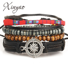 2016 Handmade Vintga Punk Multilayer Braided Compass Charm Mens Bracelet Wood Bead Leather Bracelet Women Pulseras Mujer F6063(China)