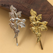 BoYuTe 20Pcs 45*25MM Leaf Shape Hairpin Metal Iron Diy Women Hair Ornaments Jewelry Accesories(China)